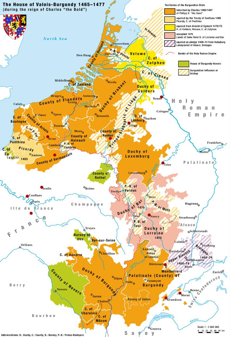 Map House Of Valois Burgundy 1465 1477