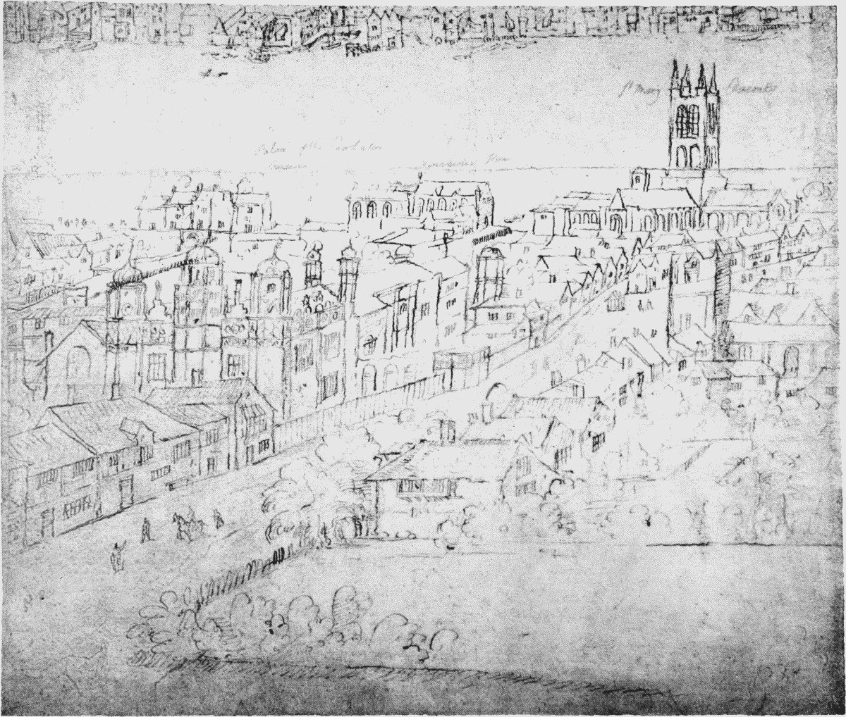 Suffolk Place C 1560 By Wyngaerde On Left Of Borough High Street © British History Online