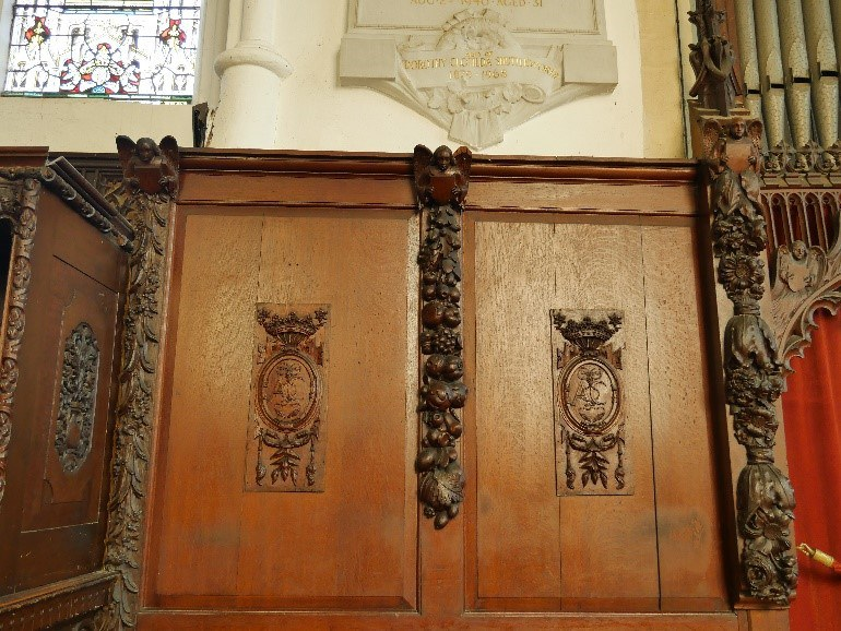 Two Of The Panels In Situ At St Leonard'S Church Old Warden © Tudor Times Ltd