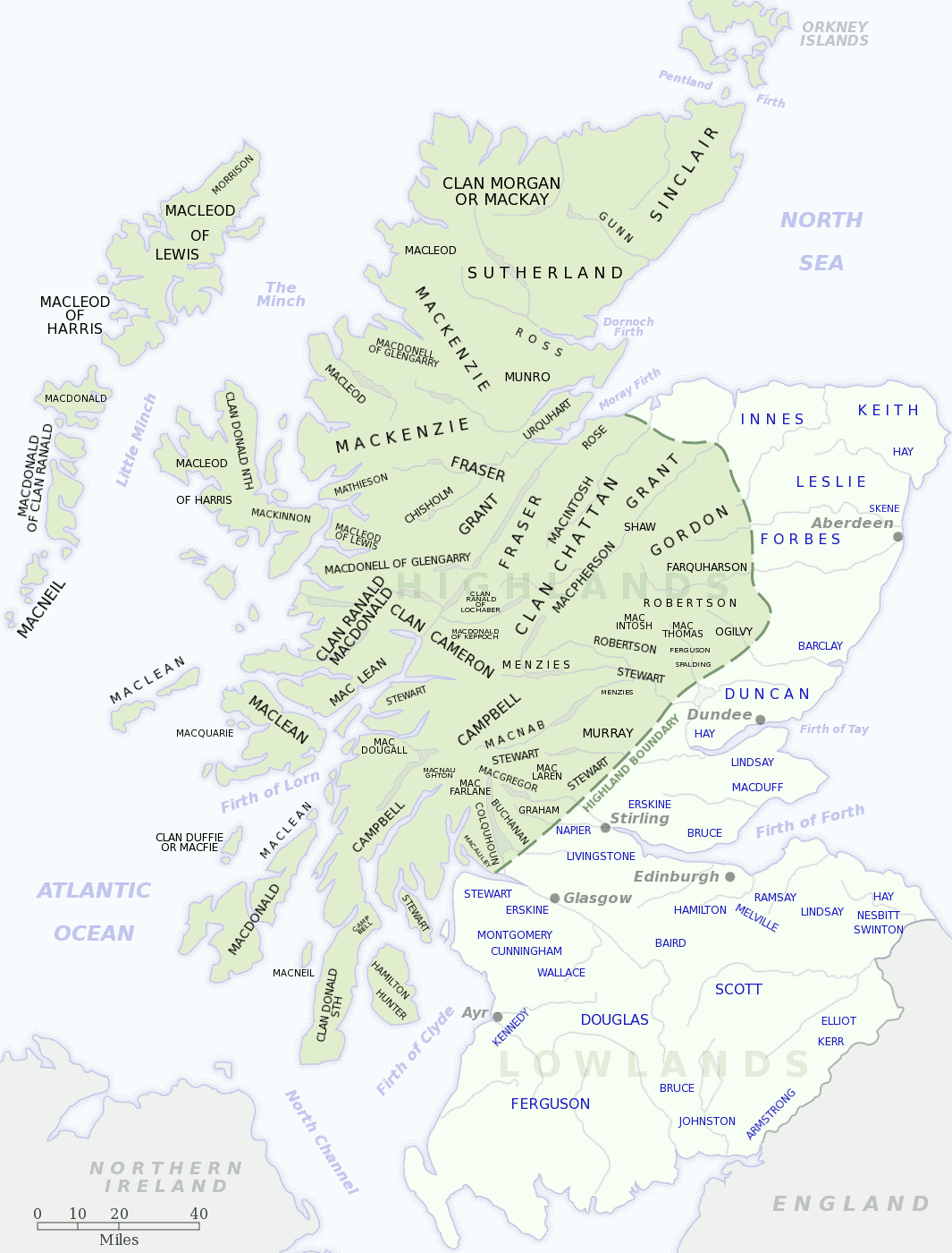 Clan-Map-of-Scotland-derived-from-The-Scottish-Clans-Their-Tartans-W.-A.K.-Johnston-1939