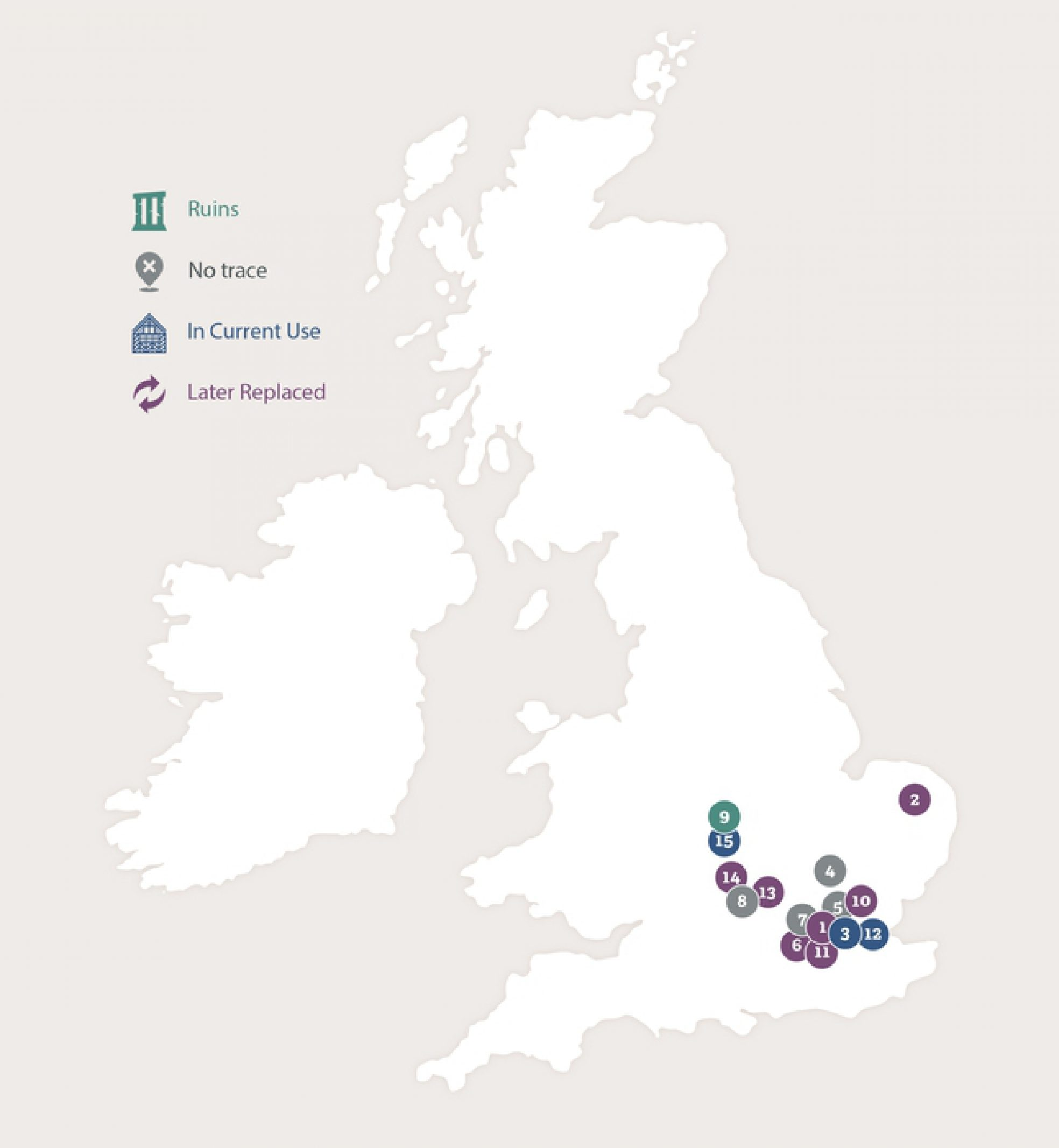 Map of Great Britain showing the footsteps of